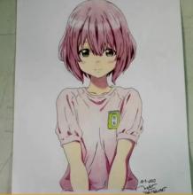 动漫短发女生人物彩铅手绘教程,很可爱哦