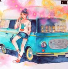 靠在巴车上的女孩超美水彩手绘教程