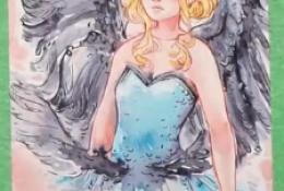 带翅膀的天使女孩水彩手绘视频教程