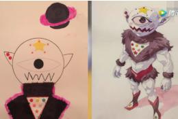 画师在孩子的涂鸦基础上创作 稚嫩和大神作品的对比