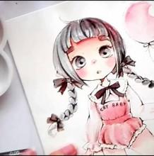 【视频】牵着气球的可爱小女孩水彩手绘视频教程 可爱小萝莉水彩画法