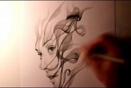 【视频】唯美创意的侧面女生素描画 如烟的女人创意素描视频教程