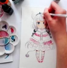 【视频】动漫小林家的龙女仆水彩手绘视频教程 画法 示范过程