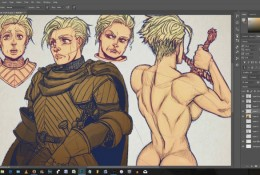 【视频】PS板绘演示中世纪女铠甲武士CG人物绘画过程 线稿是重点 硬派画法