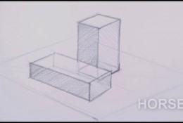 【视频】立方体几何形体的前后素描关系怎么表现?几何形体的遮挡素描画法?