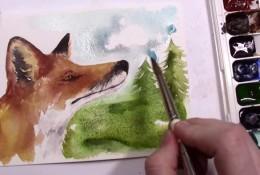 【视频】森林里的小狐狸唯美水彩手绘视频教程 狐狸水彩怎么画