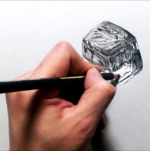 【视频】彩铅素描冰的质感怎么画 超写实融化中的冰块素描视频手绘教程