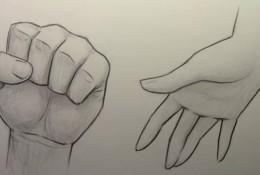 【视频】动漫插画人物手部画法演示 握紧的拳头与摊开的手掌怎么画?