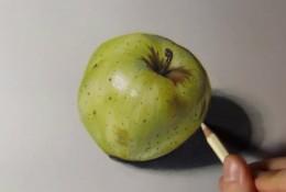 【视频】超写实手法彩铅画一只青苹果手绘视频教程 逼真的青苹果怎么画 画法