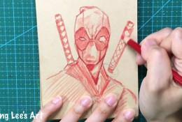 【视频】简单的死侍怎么画?单色彩铅画简笔死侍动漫人物手绘视频教程