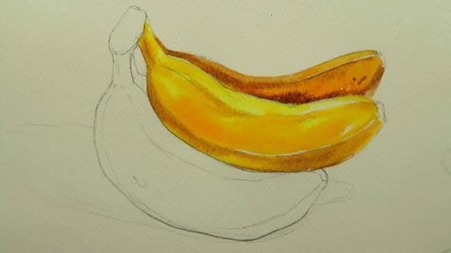 香蕉是我们平时生活当中最常见的水果,也是很多同学都很爱吃的水果。当然也包括小编。几乎生活中不会断的水果了。之前才艺君也分享过类似的教程,不过没有视频的,这边再给大家分享带视频的,这样同学们可能会看的更清楚,对照着视频画起来也会容易的多。  大家可以线用铅笔起个线稿,这样画起来也会容易的多。上色的时候还是可以线浅色上色。然后一边边的上色。上深色。和上细节。  自然的色彩过渡和相互之间的侵染更有真实的香蕉皮的氧化的效果。  在画