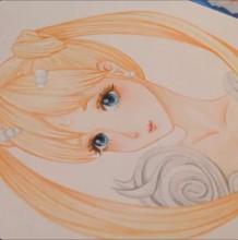 【视频】清纯可爱美少女水彩手绘视频教程 长马尾辫美少女画法