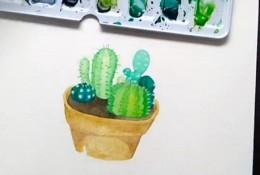 【视频】简单小清新的仙人掌盆栽水彩手绘视频教程 可爱的仙人掌怎么画?