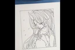 【视频】超美的恶魔女动漫画线稿手绘过程视频教程 学勾线