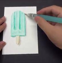 【视频】可口的雪糕棒冰水溶彩铅手绘视频教程 夏季清凉一下吧