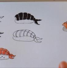 【视频】简单又可爱的寿司水彩手绘视频教程 寿司简笔画视频教程