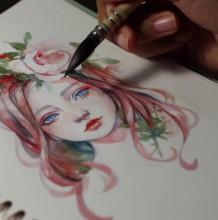 【视频】超美的森系女孩水彩手绘细化上色 带鲜花头饰的唯美少女