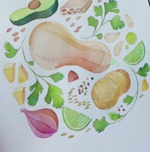 【视频】小清新叶子水果水彩图案手绘视频教程 作为手账封面很好