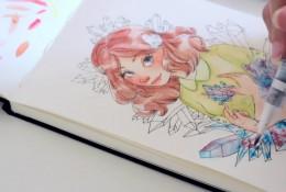 【视频】超美的水晶森系女孩水彩手绘视频教程 很仙的女生