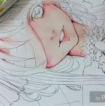 【视频】好看的病娇女孩脸部水彩上色示范视频教程 蒙着眼睛的女生