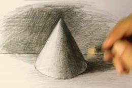【视频】简单的圆锥体素描怎么画视频教程 圆锥体素描的画法