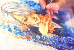 【视频】沉思的花美男水彩手绘视频教程 美男子动漫人物插画