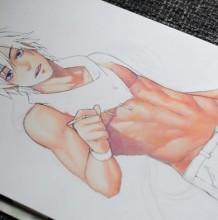 【视频】好身材秀腹肌的二次元美男动漫人物手绘视频教程