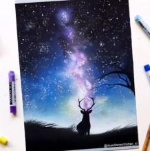 【视频】色粉搭配彩铅绘制美丽星空下的小鹿唯美风景画手绘视频教程