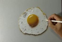 【视频】超写实逼真的荷包蛋彩铅手绘视频教程 荷包蛋的画法