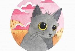 非常可爱的水彩猫咪手绘插画图片 头像壁纸都不错哦