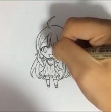 【视频】简笔Q版可爱小萝莉女生动漫画线稿手绘视频教程