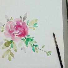 【视频】简单的水彩玫瑰花水彩手绘视频教程 零基础跟着画也可以
