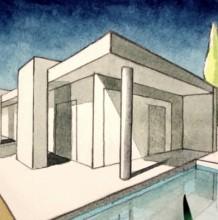 【视频】规范的两点透视建筑水彩效果图手绘视频教程 演示两点透视