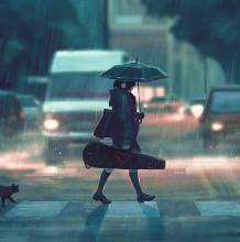 唯美有意境的孤独感少女插画图片 独自一个人二次元少女插画