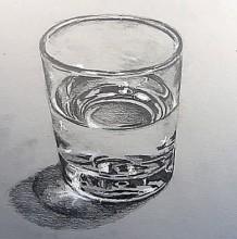 【视频】素描画装水的玻璃杯手绘视频教程 玻璃和水的画法 玻璃水质感怎么画