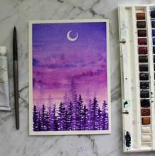 【视频】唯美有意境的夜空下森林风景水彩手绘视频教程 夜晚森林水彩图片