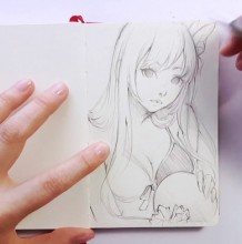 【视频】好看的女生动漫人物线稿手绘视频教程 好看性感的动漫女生画法