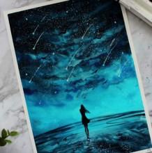 【视频】唯美意境水彩画星夜空下的少女手绘视频教程 唯美夜空下的少女背影