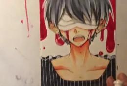 【视频】有意境的蒙着眼睛流血的男生马克笔上色手绘视频教程 病娇残娇风