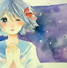 【视频】唯美星空下哭泣的女子动漫画水彩手绘视频教程 有意境哭泣的女生