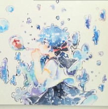 【视频】唯美可爱的吹泡泡的女生小萝莉动漫画水彩手绘视频教程