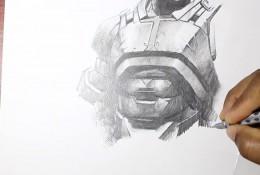 【视频】自动铅笔画钢铁侠的盔甲战衣素描画手绘视频教程
