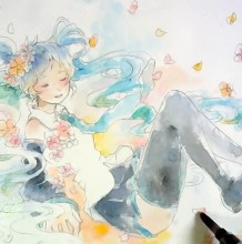 【视频】很飘逸的水彩初音公主殿下手绘视频教程 很唯美好看的上色画法