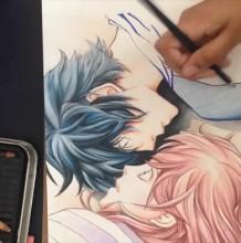 【视频】很有爱的情侣颠倒姿势睡觉彩铅动漫画人物手绘视频教程 爱情动漫