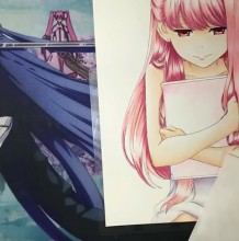 【视频】抱着书本的女孩子的动漫画人物手绘视频教程马克笔上色