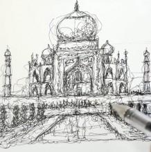 【视频】印度泰姬陵线稿创意手绘画法 杂乱线条也能画出整体作品