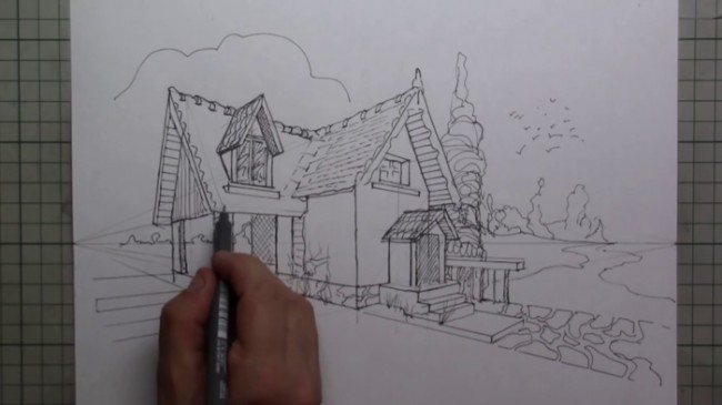 【画法】用很严格的两点透视别墅画小画法手绘效果图建筑别墅图片教程视频视频体育中心后湖图片