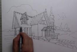 【视频】用很严格的两点透视画法画小别墅建筑效果图手绘视频教程画法