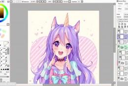 【视频】清纯可爱的拟人少女SAI板绘视频教程 独角兽少女