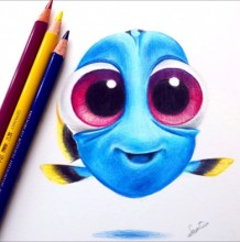 【视频】可爱的海底总动员多莉彩铅手绘视频教程 多莉的画法视频图片